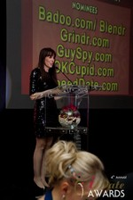 Julie Spira announcing the winner of Best Mobile Dating App at the 2013 iDateAwards Ceremony in Las Vegas